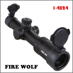 330048FIRE WOLF New 1-4X24 Riflescopes Rifle Scope Hunting Scope w/ Mounts